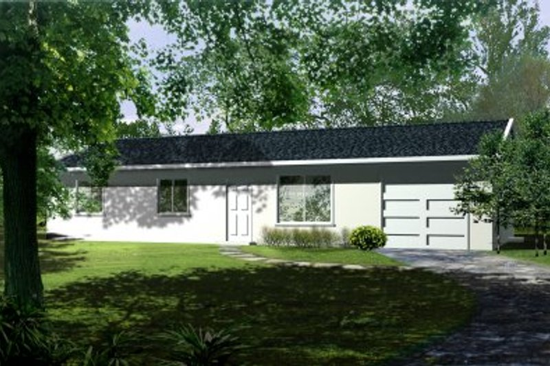 Ranch Style House Plan - 3 Beds 2 Baths 1046 Sq/Ft Plan #1-152 Exterior - Front Elevation