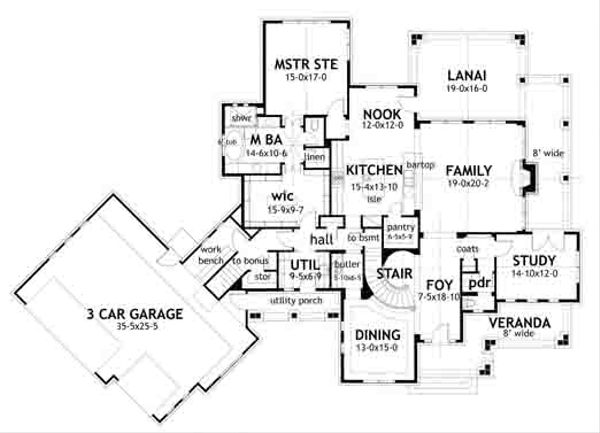 Farmhouse Floor Plan - Main Floor Plan Plan #120-195
