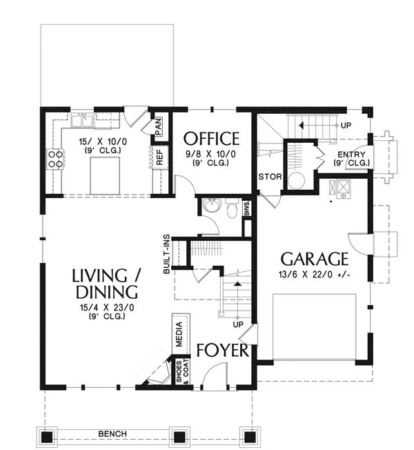 Craftsman Floor Plan - Main Floor Plan Plan #48-930