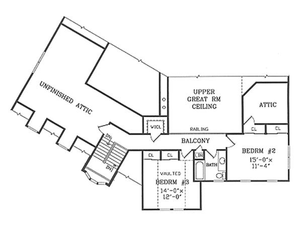 Country Floor Plan - Upper Floor Plan Plan #314-286
