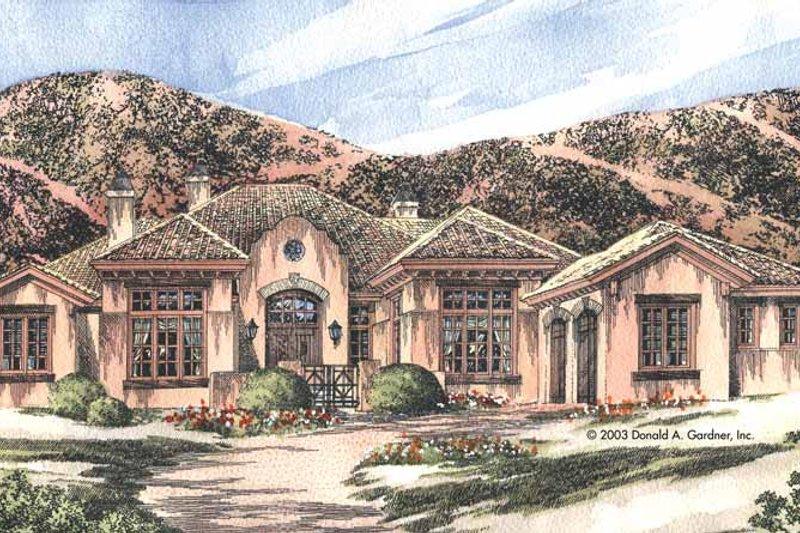 Dream House Plan - Mediterranean Exterior - Front Elevation Plan #929-698