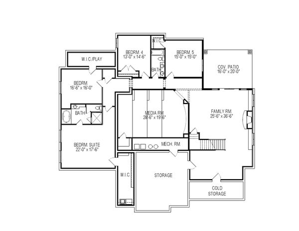 Country Floor Plan - Lower Floor Plan Plan #920-14