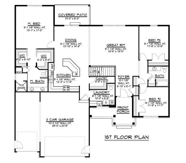 Craftsman Floor Plan - Main Floor Plan Plan #1064-37