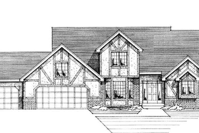 Tudor Exterior - Front Elevation Plan #51-812