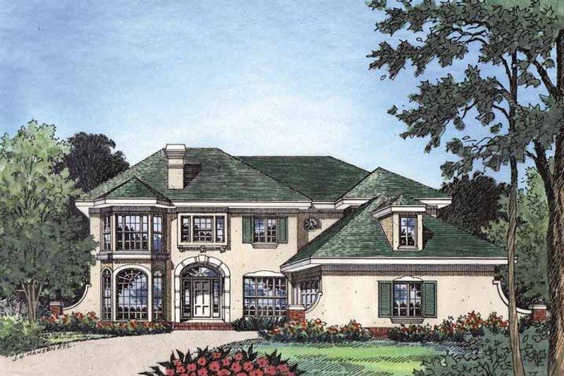 Dream House Plan - Mediterranean Exterior - Front Elevation Plan #417-500
