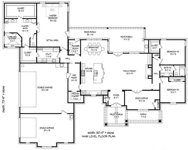 Country Floor Plan - Main Floor Plan #932-79
