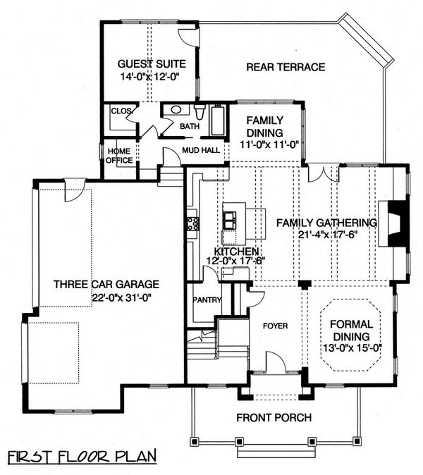 Craftsman Floor Plan - Main Floor Plan Plan #413-107