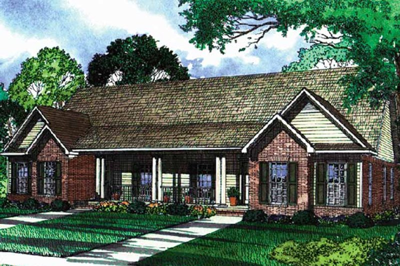 Country Exterior - Front Elevation Plan #17-3159 - Houseplans.com