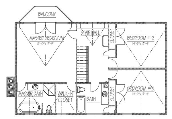 Colonial Floor Plan - Upper Floor Plan Plan #1061-6