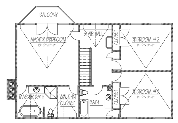 Colonial Floor Plan - Upper Floor Plan Plan #1061-6