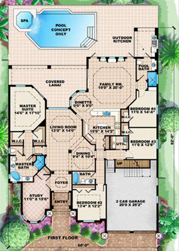 Mediterranean Floor Plan - Main Floor Plan Plan #27-422