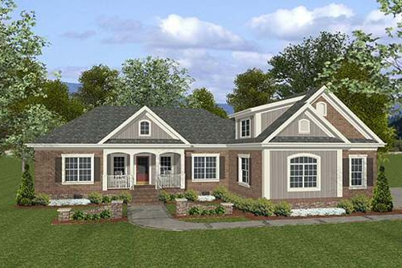 Craftsman Style House Plan - 4 Beds 3 Baths 1800 Sq/Ft Plan #56-557 Exterior - Front Elevation