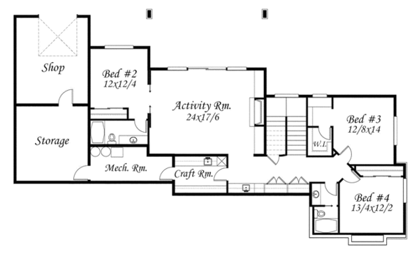 Craftsman Floor Plan - Lower Floor Plan Plan #509-432