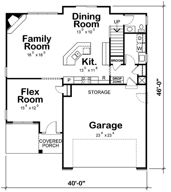 Dream House Plan - Bungalow Floor Plan - Main Floor Plan #20-1770