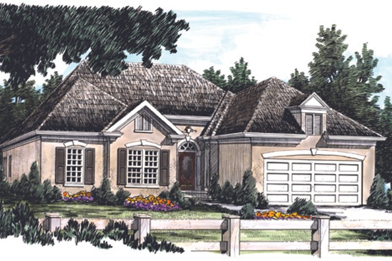 Mediterranean Exterior - Front Elevation Plan #927-68 - Houseplans.com