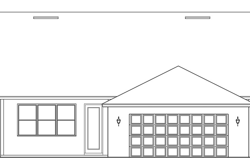 Ranch Exterior - Rear Elevation Plan #1058-140 - Houseplans.com