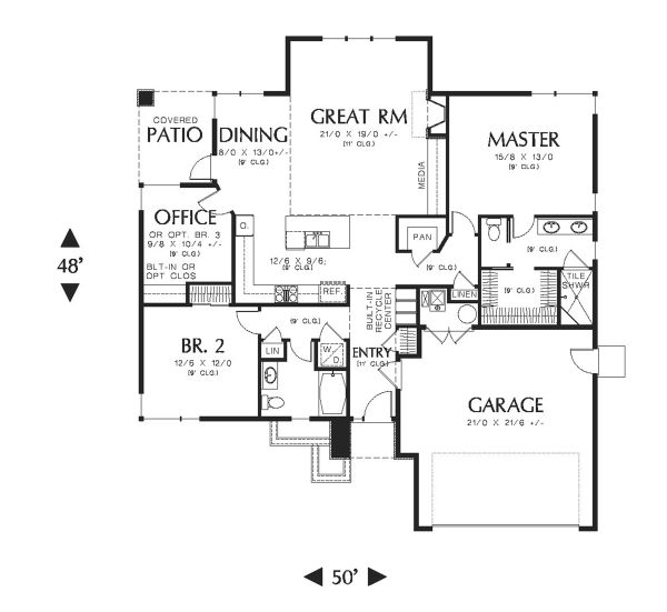 Ranch Floor Plan - Main Floor Plan Plan #48-599