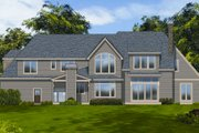 European Style House Plan - 4 Beds 3.5 Baths 4304 Sq/Ft Plan #48-259 Exterior - Rear Elevation