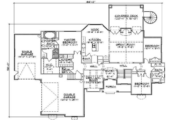House Plan Design - European Floor Plan - Main Floor Plan #5-278