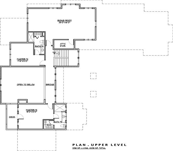 Craftsman style house plan, upper level floor plan