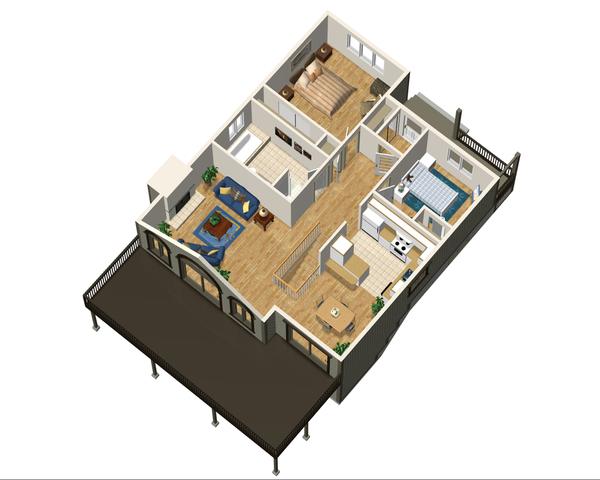 Cabin Style House Plan - 2 Beds 1 Baths 992 Sq/Ft Plan #25-4329 Floor Plan - Main Floor Plan
