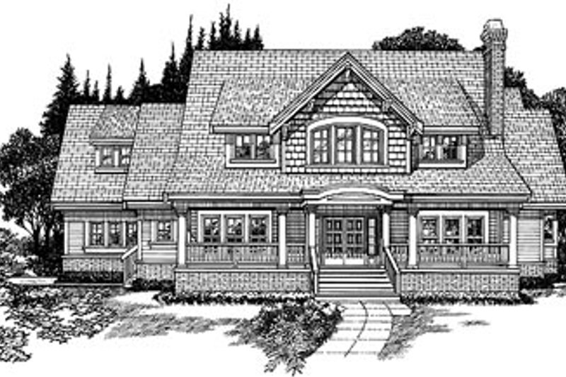 Craftsman Style House Plan - 4 Beds 3.5 Baths 3090 Sq/Ft Plan #47-390 Exterior - Front Elevation