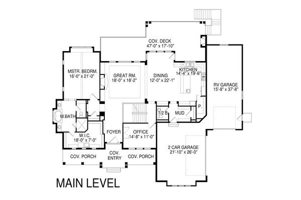 Craftsman Floor Plan - Main Floor Plan Plan #920-34