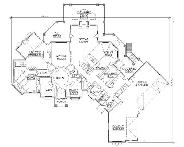 European Floor Plan - Main Floor Plan Plan #5-454
