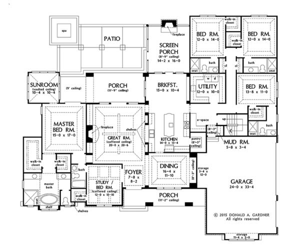 European Style House Plan - 5 Beds 5 Baths 3378 Sq/Ft Plan #929-1008 Floor Plan - Main Floor Plan