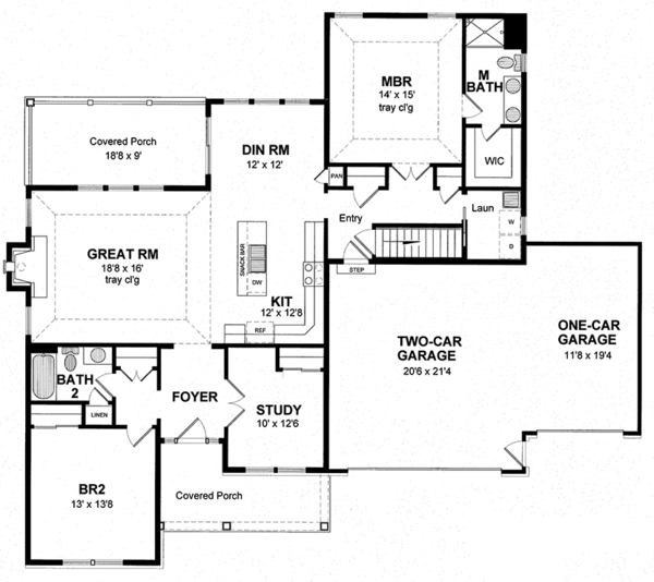 Dream House Plan - Ranch Floor Plan - Main Floor Plan #316-290