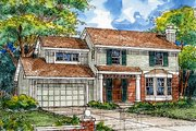Traditional Style House Plan - 3 Beds 2.5 Baths 1467 Sq/Ft Plan #50-152 Exterior - Front Elevation