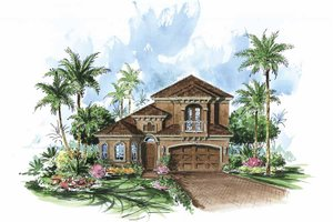 Mediterranean Exterior - Front Elevation Plan #1017-90