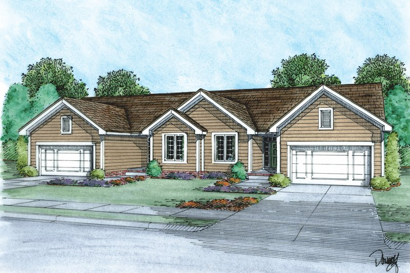Traditional Style House Plan - 2 Beds 2 Baths 1281 Sq/Ft Plan #20-2381 Exterior - Front Elevation