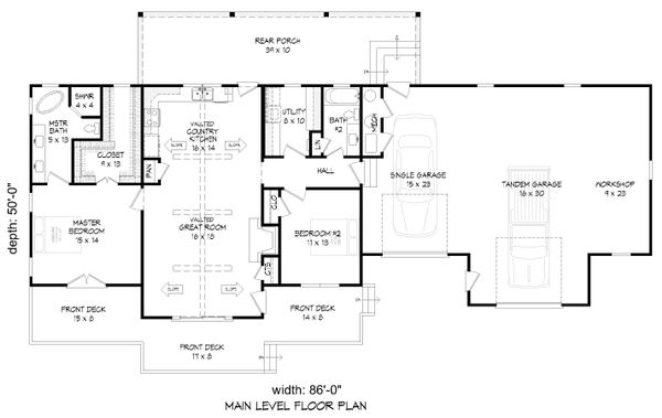 Country Floor Plan - Main Floor Plan Plan #932-170