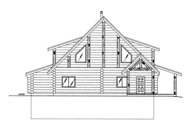 Log Exterior - Rear Elevation Plan #117-826 - Houseplans.com