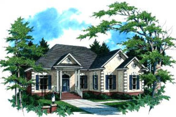 European Exterior - Front Elevation Plan #37-122