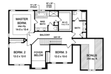 Colonial Floor Plan - Upper Floor Plan Plan #1010-154