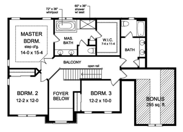Colonial Floor Plan - Upper Floor Plan Plan #1010-154