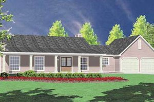 Architectural House Design - Ranch Exterior - Front Elevation Plan #36-108