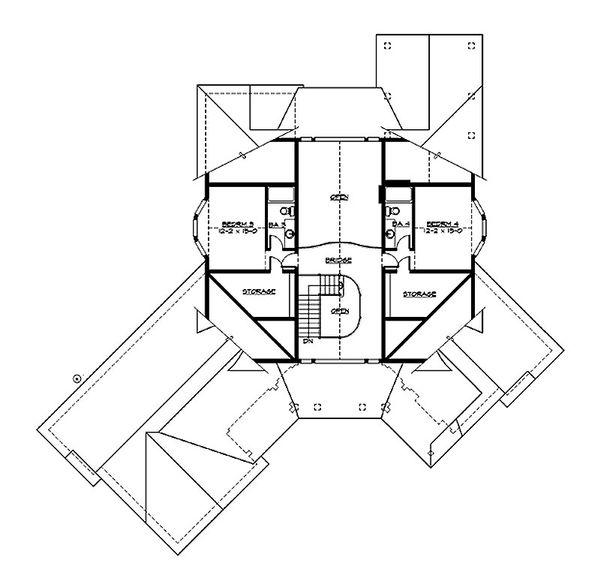 Craftsman Floor Plan - Upper Floor Plan Plan #132-211