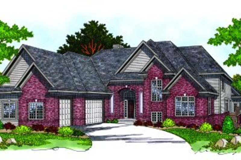 Traditional Style House Plan - 4 Beds 3.5 Baths 3800 Sq/Ft Plan #70-539 Exterior - Front Elevation