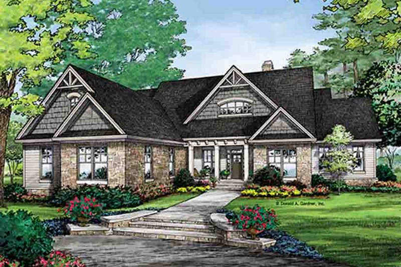 Craftsman Exterior - Front Elevation Plan #929-968