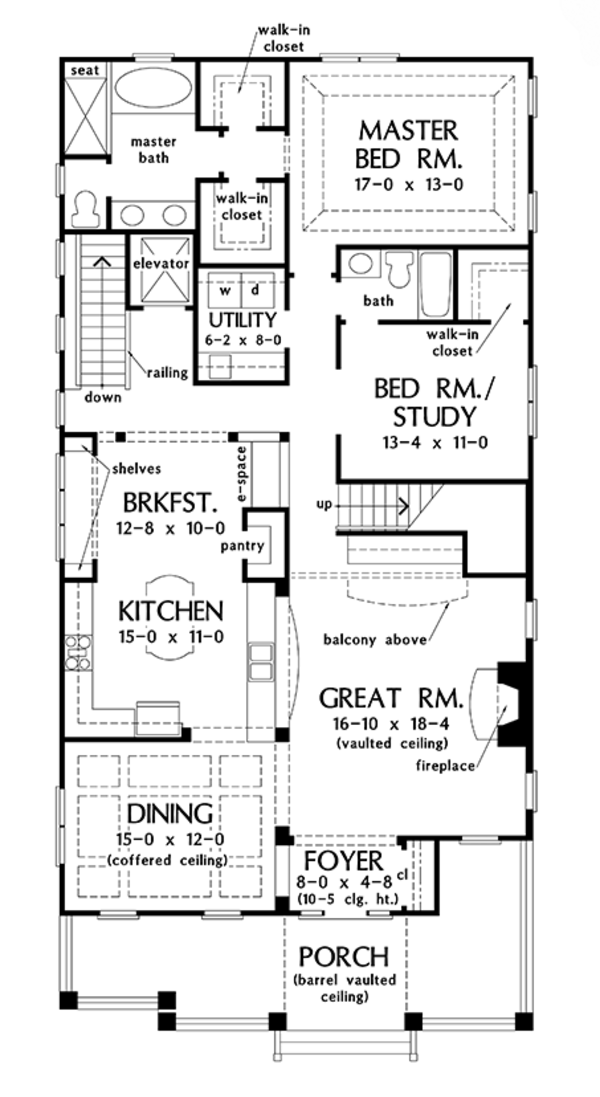 Craftsman Floor Plan - Main Floor Plan Plan #929-986