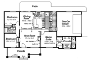 Ranch Style House Plan - 3 Beds 2 Baths 1493 Sq/Ft Plan #18-9546 Floor Plan - Main Floor