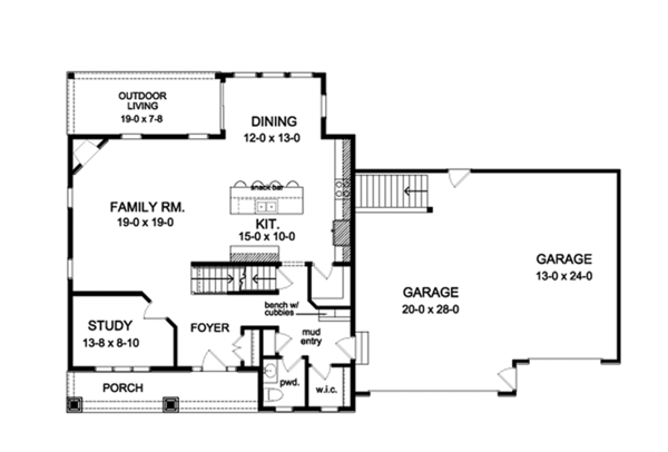 Traditional Floor Plan - Main Floor Plan Plan #1010-128