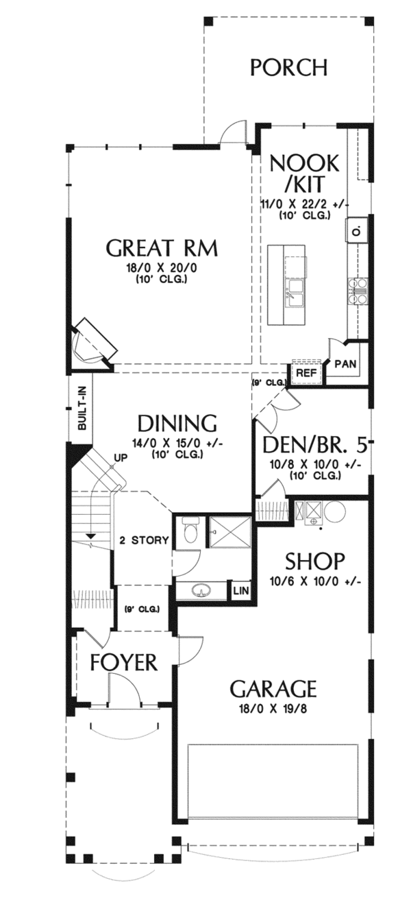 Craftsman Floor Plan - Main Floor Plan Plan #48-903