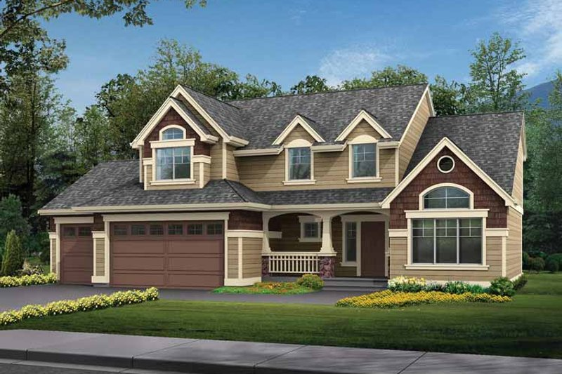 Craftsman Exterior - Front Elevation Plan #132-266 - Houseplans.com