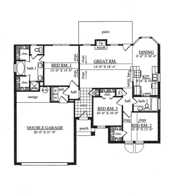 House Plan Design - Traditional Floor Plan - Main Floor Plan #42-722
