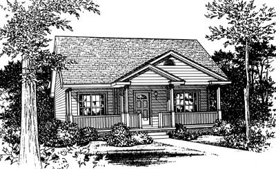 Cottage Style House Plan - 2 Beds 2 Baths 1142 Sq/Ft Plan #20-122 Exterior - Front Elevation