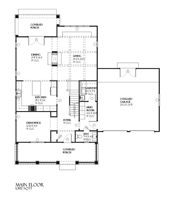 Farmhouse Floor Plan - Main Floor Plan Plan #901-51